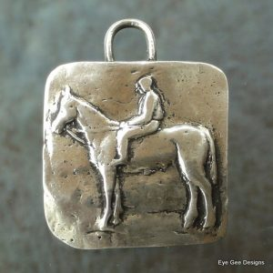 mounted rider horse pendant